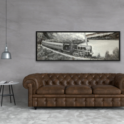 Framed 20 x 60 - Vintage passenger locomotive