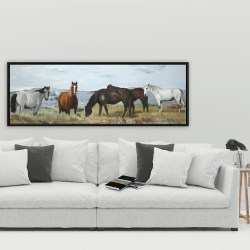 Framed 20 x 60 - Horses eating in the meadow