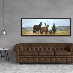 Framed 20 x 60 - Horses in the meadow by the sun
