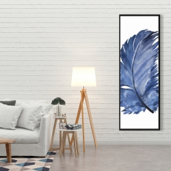 Framed 20 x 60 - Watercolor blue feather