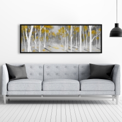 Framed 20 x 60 - Yellow birch forest