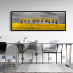 Framed 20 x 60 - Yellow trees in a field
