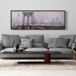 Framed 20 x 60 - Brooklyn bridge with passersby