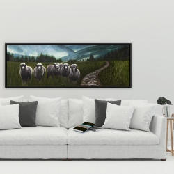 Framed 20 x 60 - Sheep in the countryside