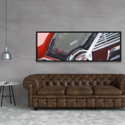 Framed 20 x 60 - Vintage red car dashboard