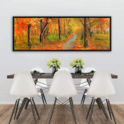 Framed 20 x 60 - Autumn trail in the forest