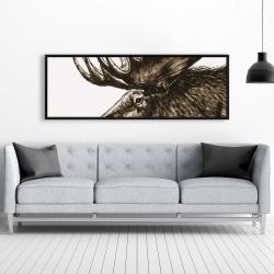Framed 20 x 60 - Moose plume sepia