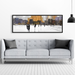 Framed 20 x 60 - Silhouettes walking towards the city