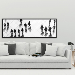 Framed 20 x 60 - Overhead view of people on the street