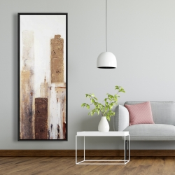 Framed 20 x 60 - Abstract earthy tones city