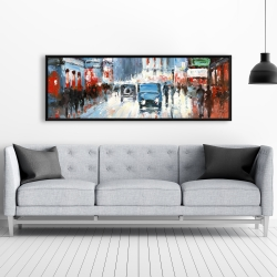 Framed 20 x 60 - Abstract red and blue city