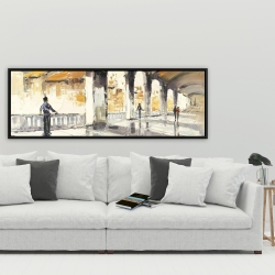 Framed 20 x 60 - People in a spacious hall