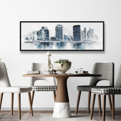 Framed 20 x 60 - Texturized blue colors cityscape