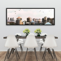 Framed 20 x 60 - Water towers with birds