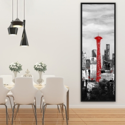Framed 20 x 60 - Space needle in red