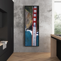 Framed 20 x 60 - Overhead view of the golden gate and mountains