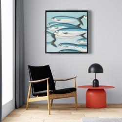 Framed 24 x 24 - Small fish of caesio caerulaurea