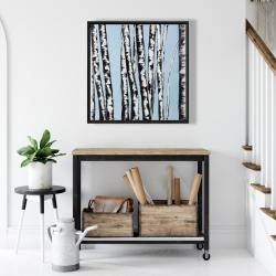 Framed 24 x 24 - Pastel birches