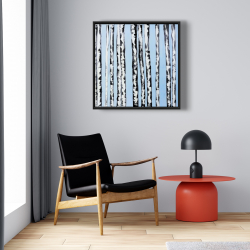 Framed 24 x 24 - Birches on a blue background