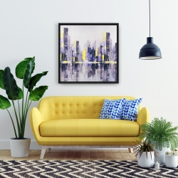 Framed 24 x 24 - Abstract and blurry city