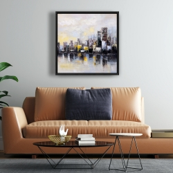 Framed 24 x 24 - Abstract city in the morning