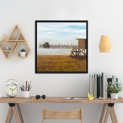 Framed 24 x 24 - Lifeguard tower at the beach