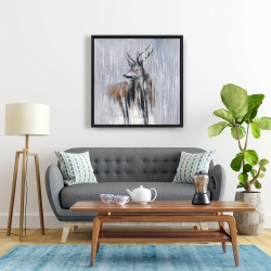 Framed 24 x 24 - Deer in the forest by a rainy day