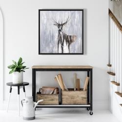 Framed 24 x 24 - Winter abstract deer