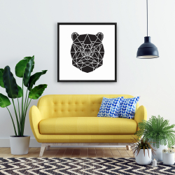 Framed 24 x 24 - Geometric bear head