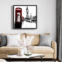 Framed 24 x 24 - Telephone box and big ben of london