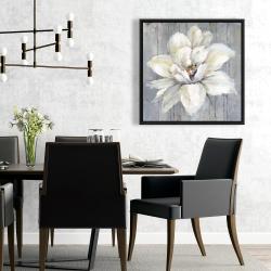 Framed 24 x 24 - White flower on wood