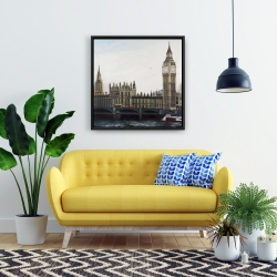 Framed 24 x 24 - Big ben clock elizabeth tower in london