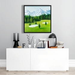 Framed 24 x 24 - Golf course with mountains view