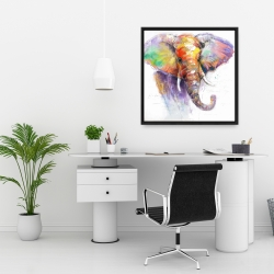 Framed 24 x 24 - Beautiful and colorful elephant