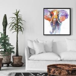 Framed 24 x 24 - Colorful walking elephant