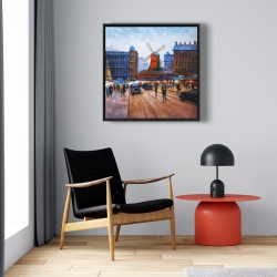 Framed 24 x 24 - Street scene to moulin rouge