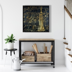Framed 24 x 24 - Gold city blue print