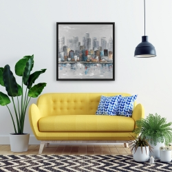Framed 24 x 24 - Abstract city skyline