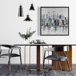 Framed 24 x 24 - Abstract urban skyline