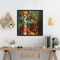 Framed 24 x 24 - Colorful dotted leaves birches