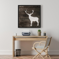Framed 24 x 24 - Deer silhouette on wood