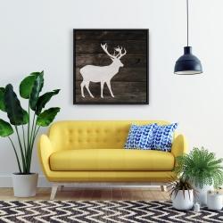 Framed 24 x 24 - Deer on wood background