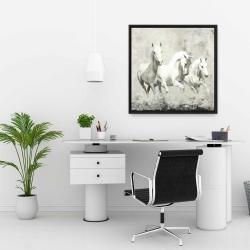 Framed 24 x 24 - Three white horses running