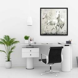Framed 24 x 24 - Two white horses running