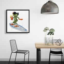 Framed 24 x 24 - Funny frog surfing