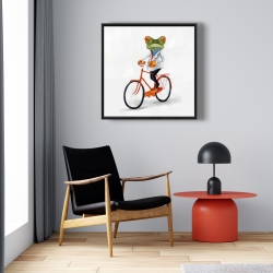Framed 24 x 24 - Funny frog riding a bike