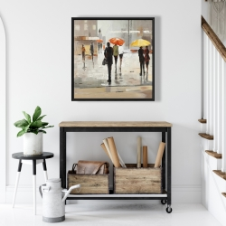 Framed 24 x 24 - Abstract passersby with umbrellas