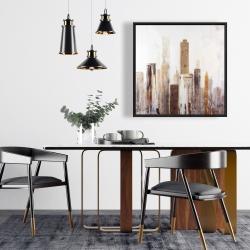 Framed 24 x 24 - Abstract earthy tones city