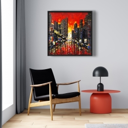 Framed 24 x 24 - Abstract sunset on the city