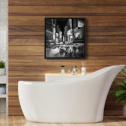Framed 24 x 24 - Gray busy city by night